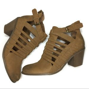 NWOT G BY GUESS BOOTIES TAN SUEDE SIZE 9 ZIP UP